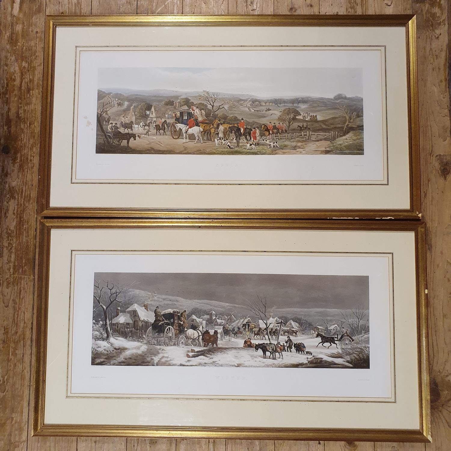 Set of four coaching prints, Spring, Summer, Autumn and Winter, 32 x 76 cm - Image 4 of 6
