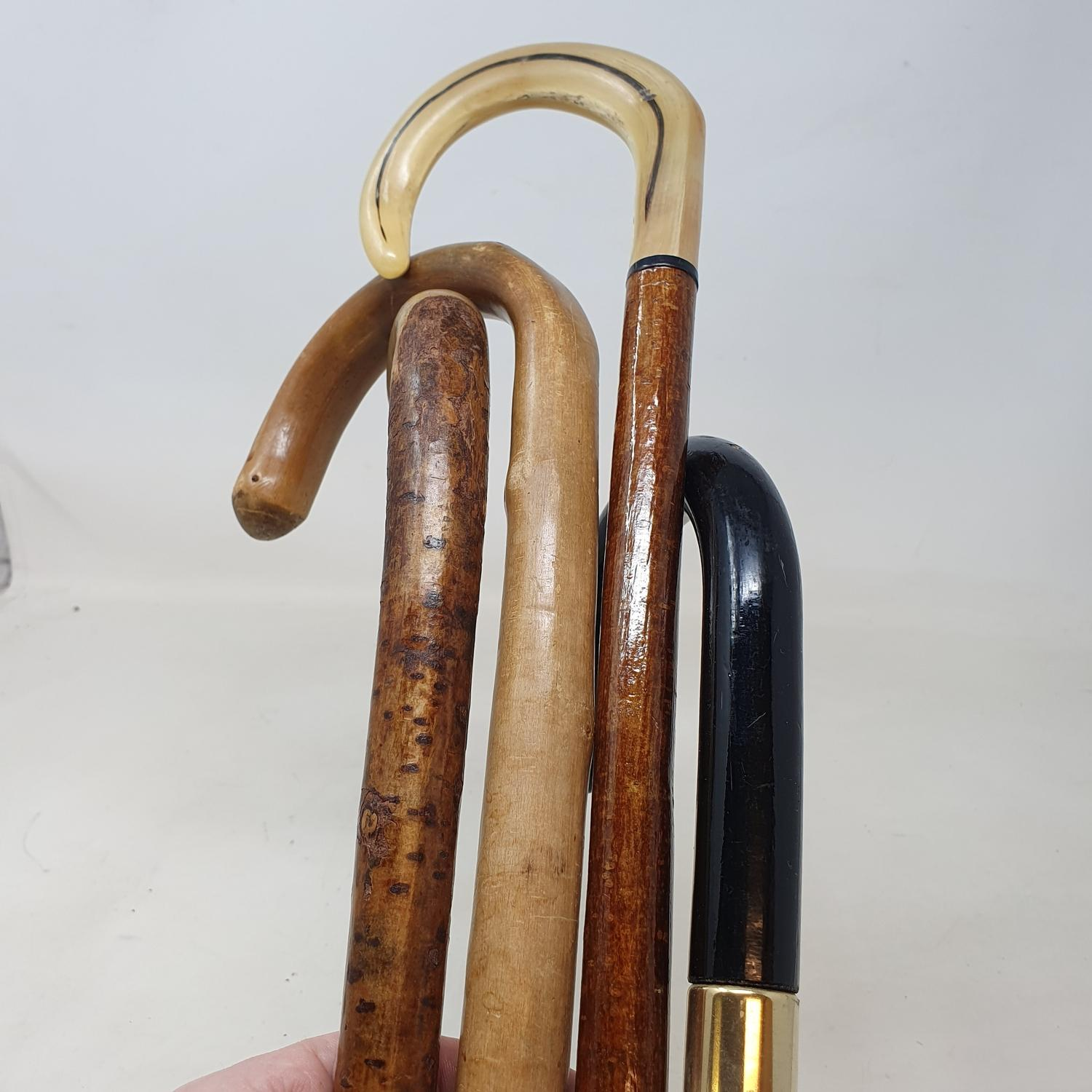 A walking stick, with a horn handle, 91 cm, and three others (4) - Image 2 of 2