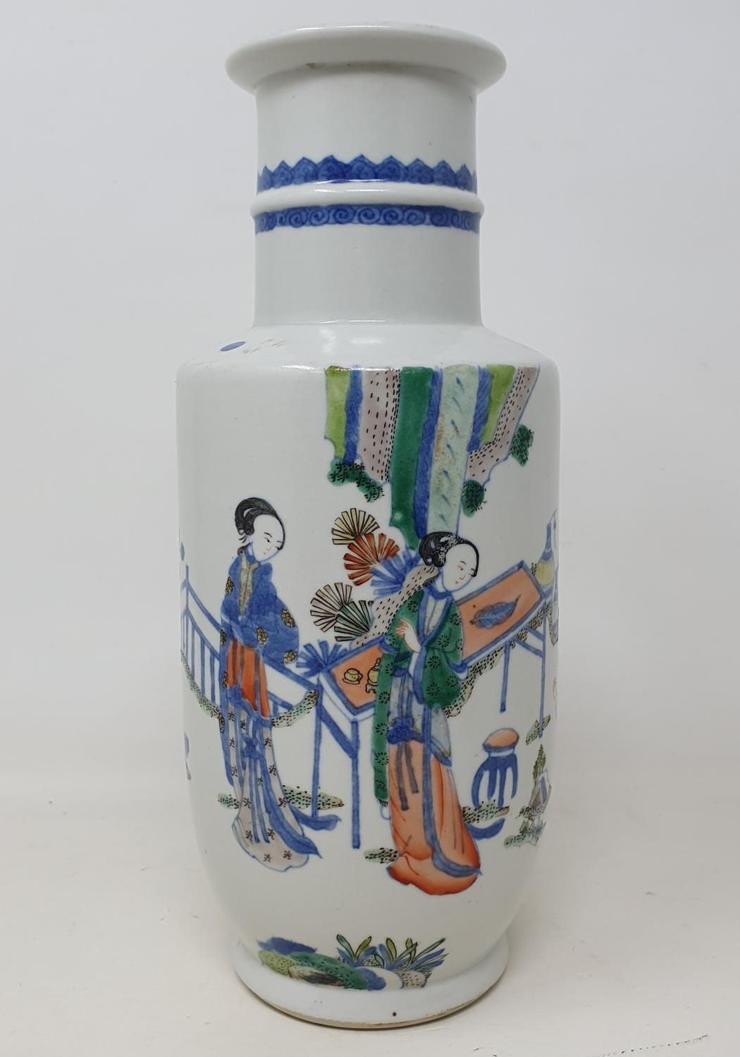 A Chinese vase, decorated figures, 24 cm high