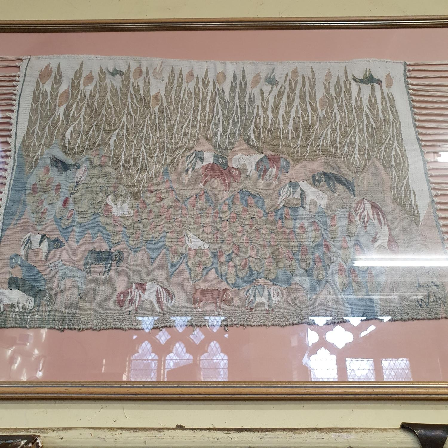A South American embroidered panel, 44 x 44 cm and three other framed fabrics (4) - Image 3 of 4