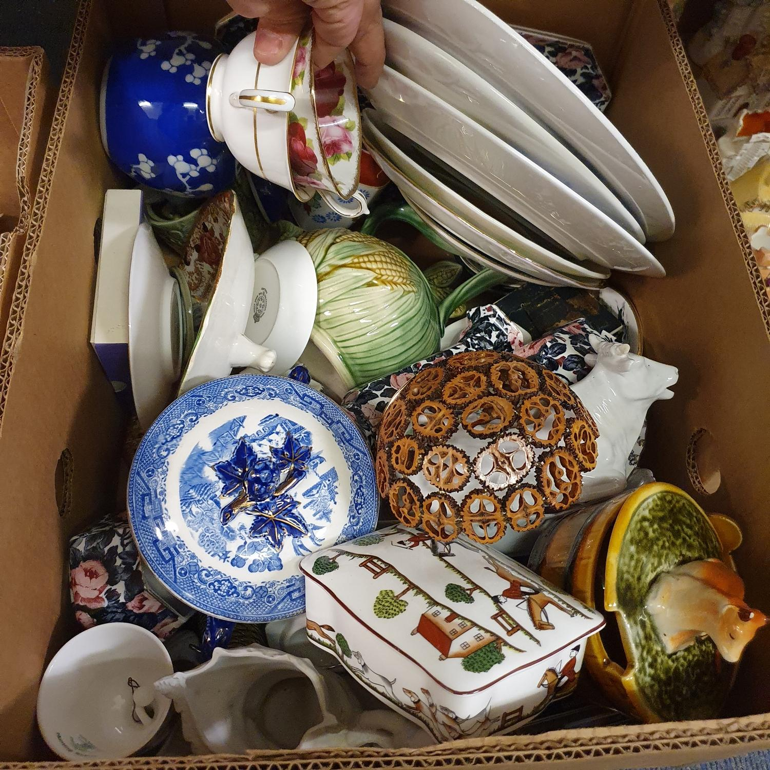 A Staffordshire cow creamer, and other ceramics (2 boxes) - Image 3 of 3