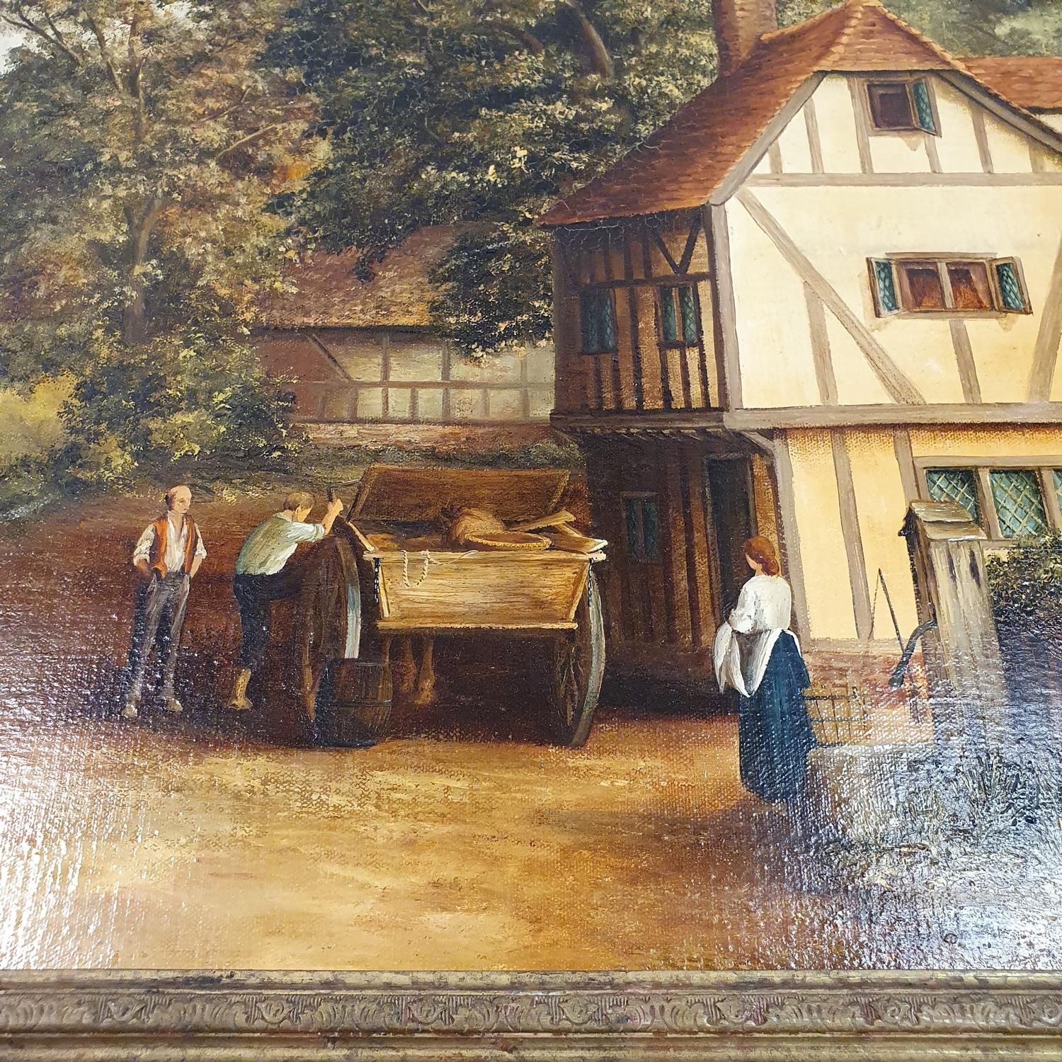 H Douglas, landscape with figures in a cart, 60 x 90 cm, and another landscape, 60 x 90 cm (2) - Image 2 of 3