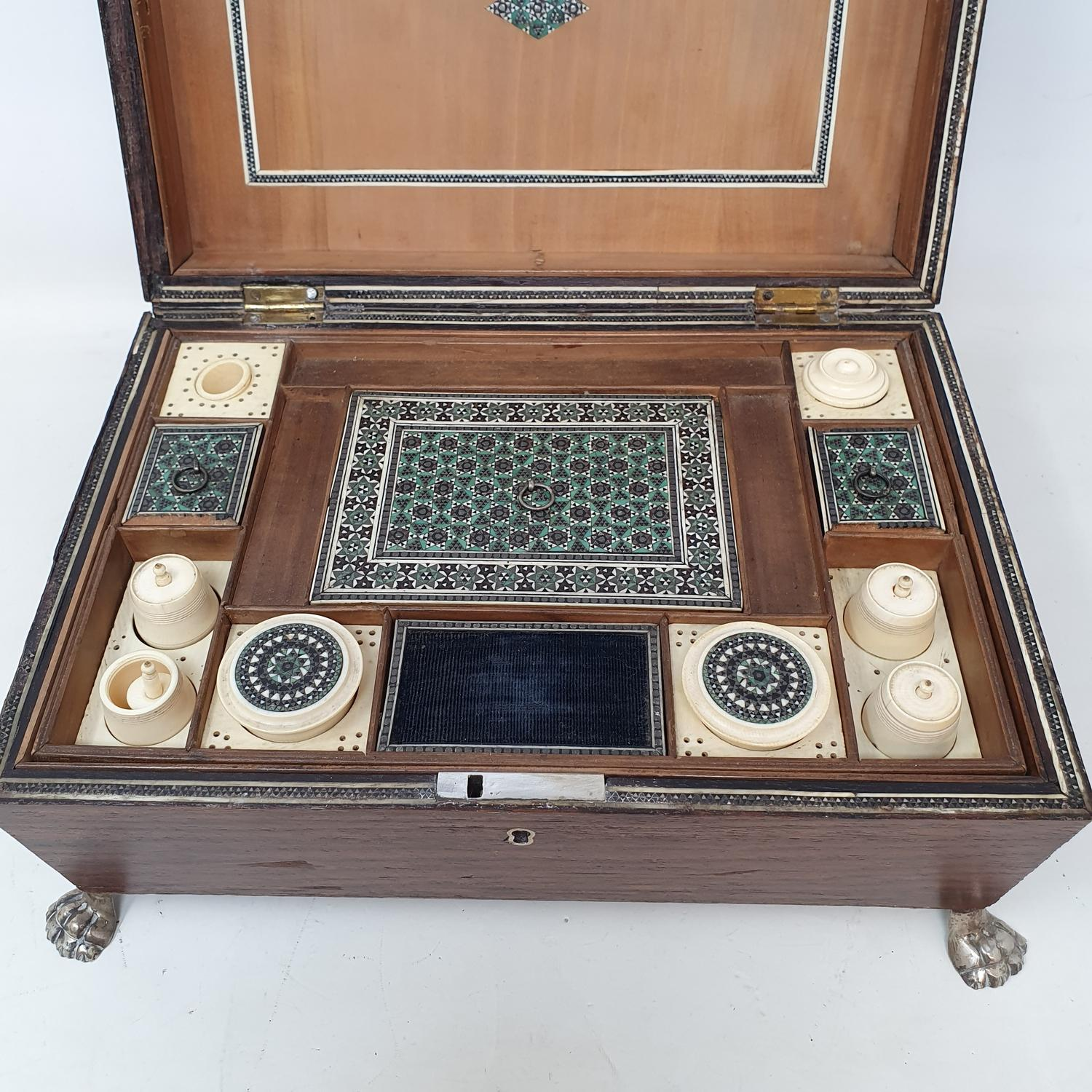 A 19th century rosewood sewing box,the fitted interior with various bone compartments, 26 cm wide - Image 2 of 4