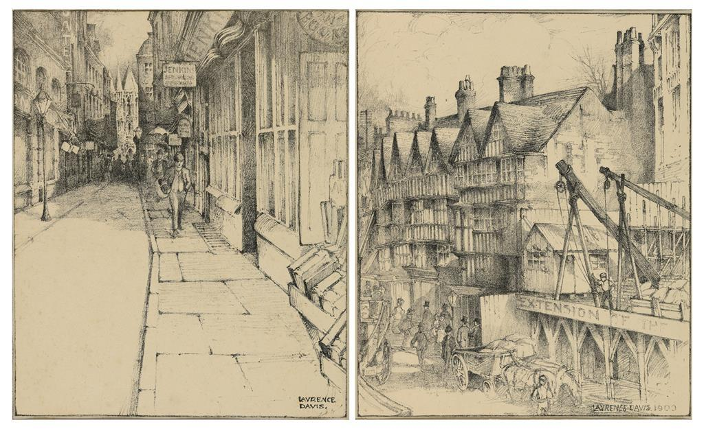 Laurence Davis, booksellers row and a stable inn, a pair, signed in charcoal, 23 x 20 cm