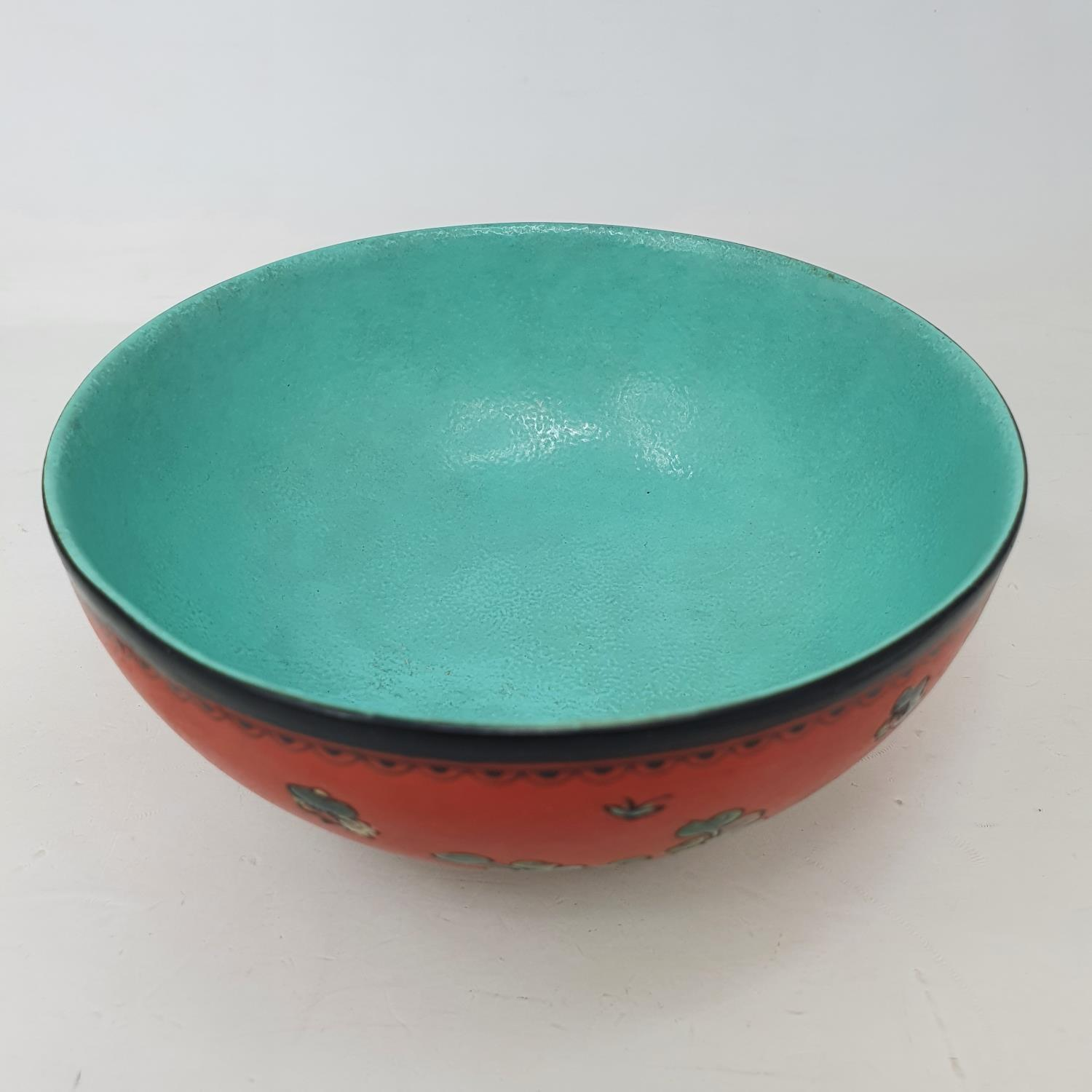 A Chinese red ground bowl, decorated birds, flowers and script, six character mark to base, 14 cm - Image 5 of 6