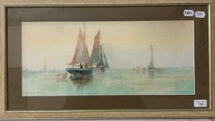 E Lamb, seascape with boats, watercolour, 22 x 51 cm, and six other pictures (7)