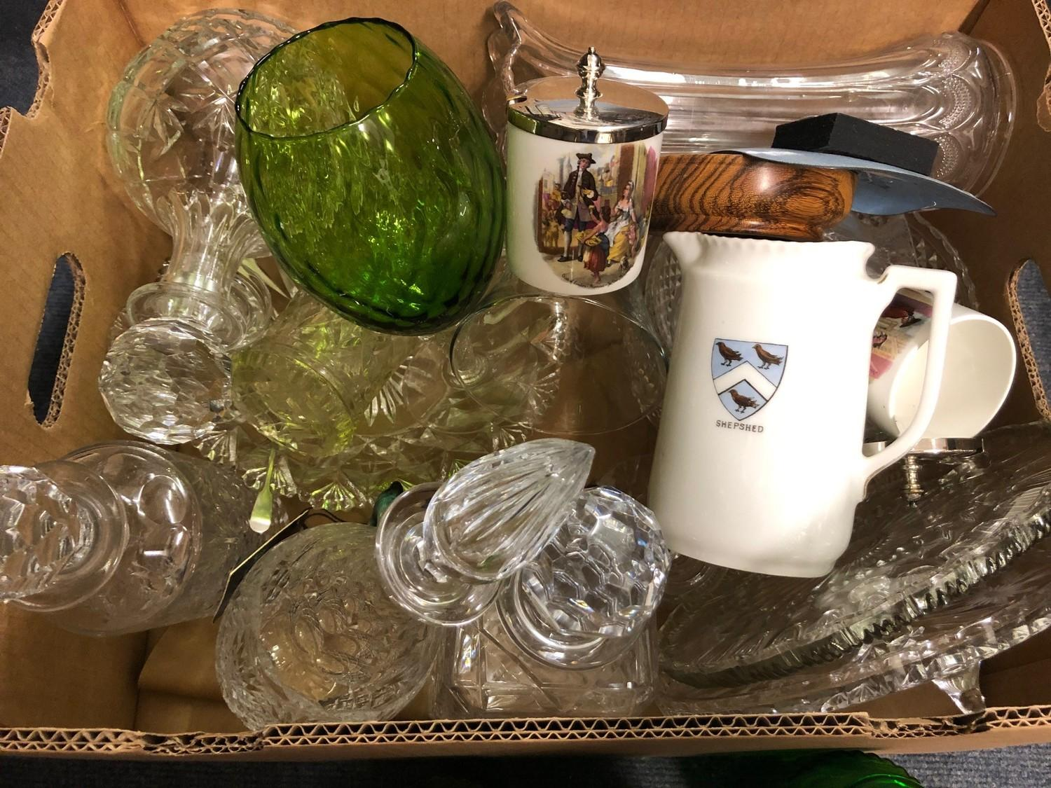 Three early 20th century green glass apothecary bottles, and other glassware (box) - Image 2 of 2