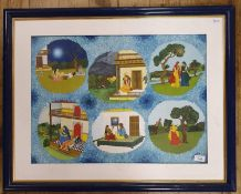 S E Joshi?, Indian school, 20th century, six scenes with figures on blue field, 47 cm x 64 cm