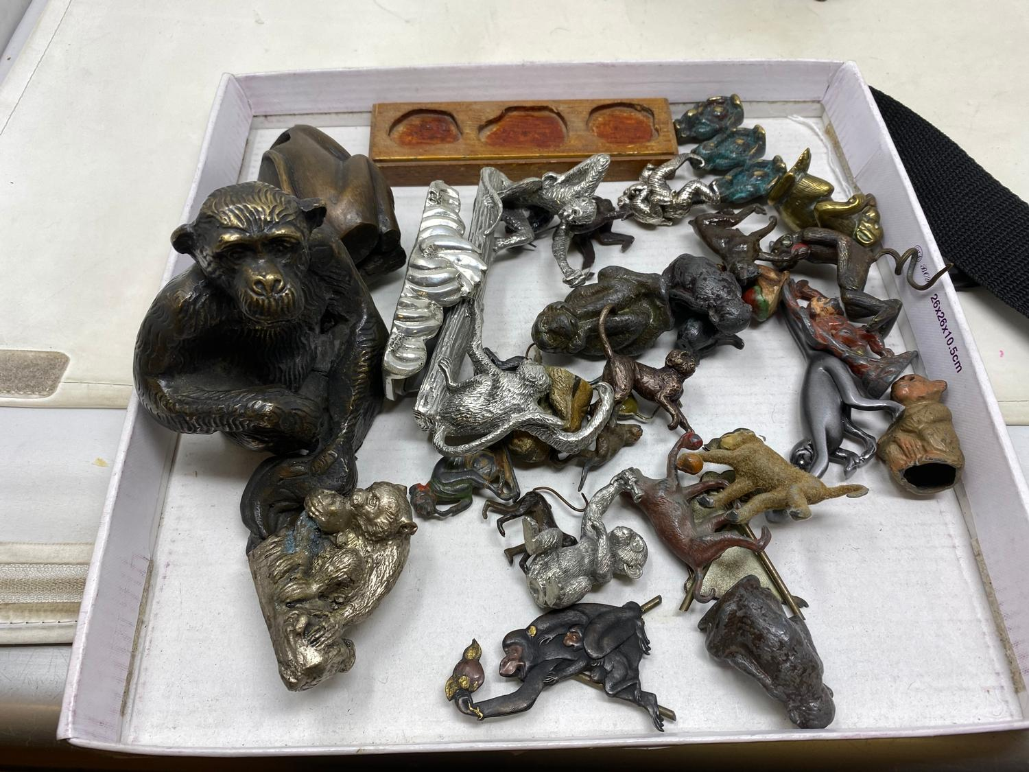 A set of three bronze monkeys, see no evil, hear no evil, speak no evil, on wooden stand, and - Image 2 of 2
