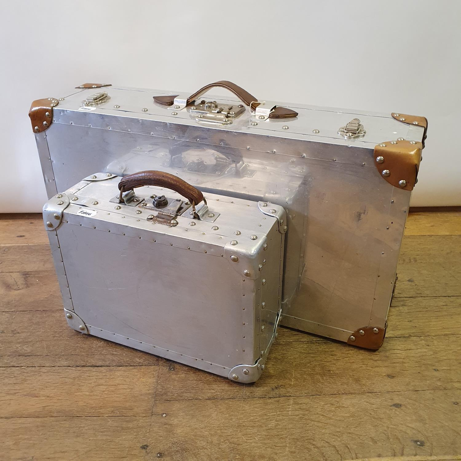 An aluminium suitcase box, 67 cm wide, and another, 36 cm wide - Image 2 of 2