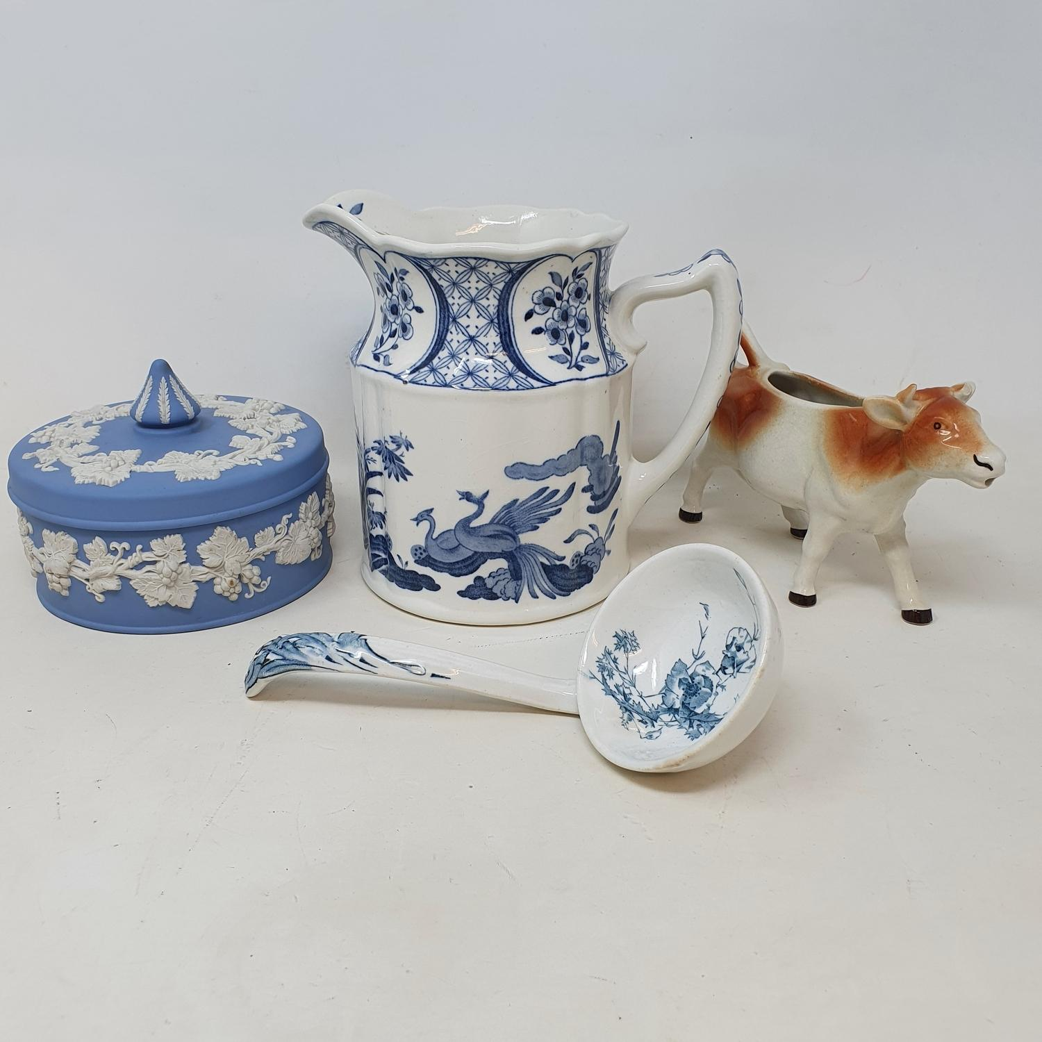A Staffordshire cow creamer, and other ceramics (2 boxes)