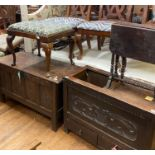 An 18th century oak coffer, 111 cm wide, an oak mule chest, 94 cm wide, a stool and a Sutherland