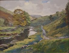 Arnold Denby, Langstrotdale, oil on board, 38 x 49 cm, signed, titled and dated 1953 verso on mount