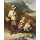 English school, 19th century, a family on the shore line with a toy boat and a mother, child and a