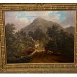 S Smith, cattle and a figure on a bridge, with mountains in the distance, oil on canvas, signed
