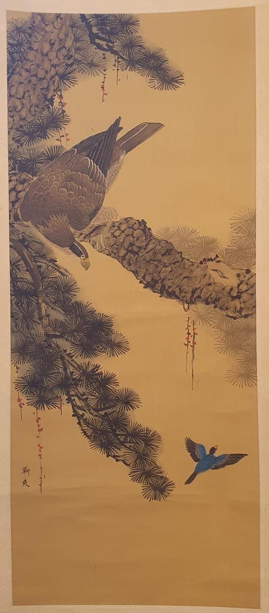 A Japanese hanging scroll, decorated an eagle in a pine tree, signed, the image 93 cm x 38 cm