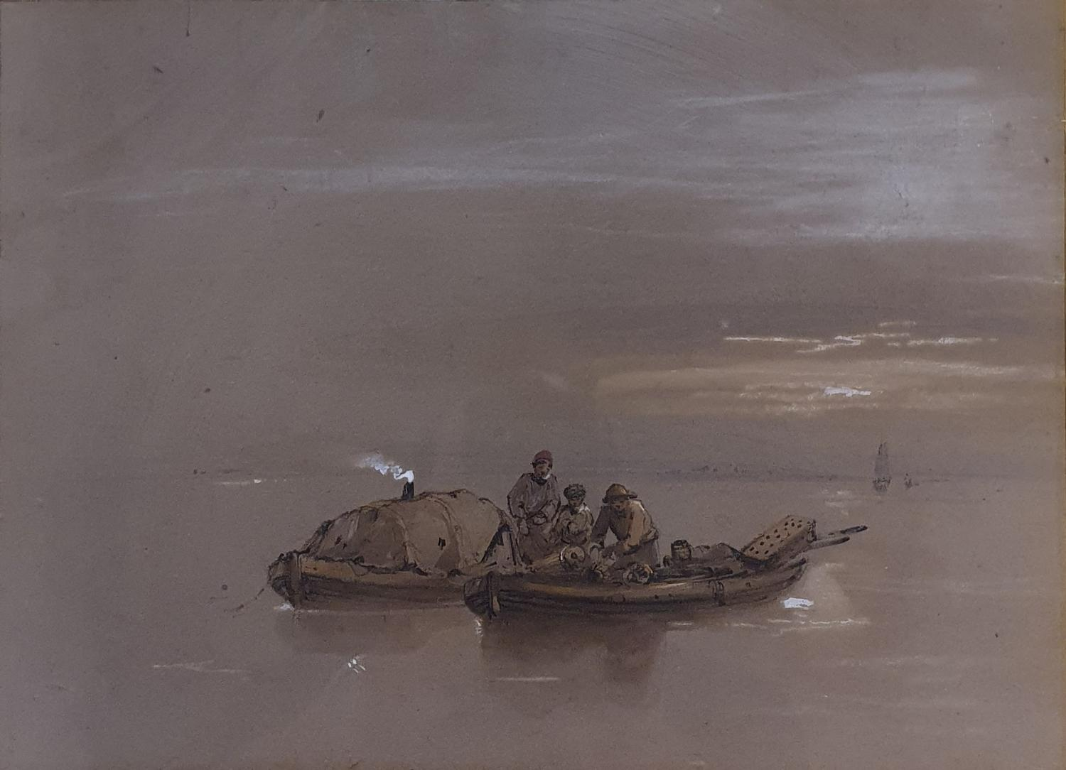 English school, 19th century, smugglers in two boats, watercolour 23 x 32 cm