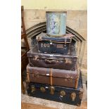 A cabin trunk, another trunk, two suitcases, and a bin (5)
