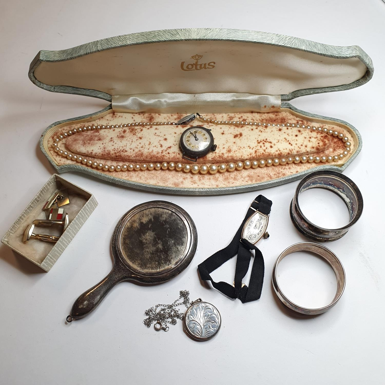 A lady's 9ct wristwatch, costume jewellery and other items