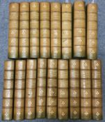 Stevenson (Robert Louis) Works of, 15 vols, half calf, two water damaged, spines faded (17)