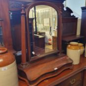 A 19th century mahogany dressing mirror, 69 cm wide, three planters and five storage jars (9)