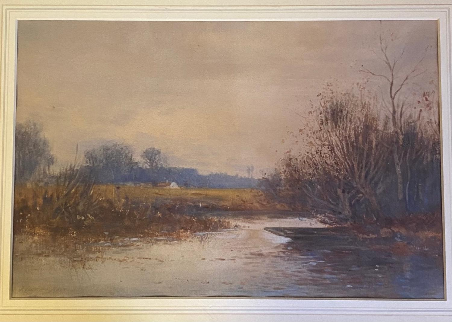 J. Lawrence Hart (1830-1907), a landscape with a stream and boat, watercolour signed, 23 x 35 cm,