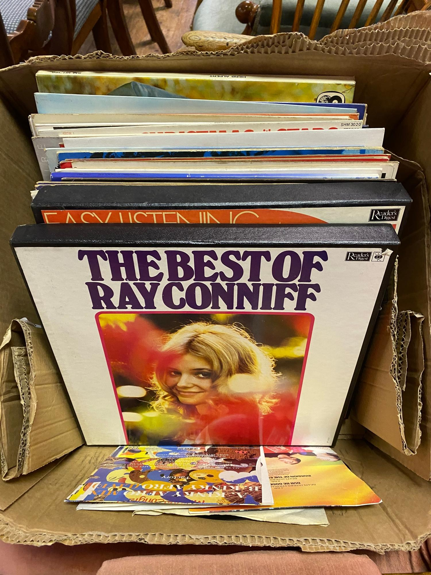 Various vinyl LP 33 rpm records (box)