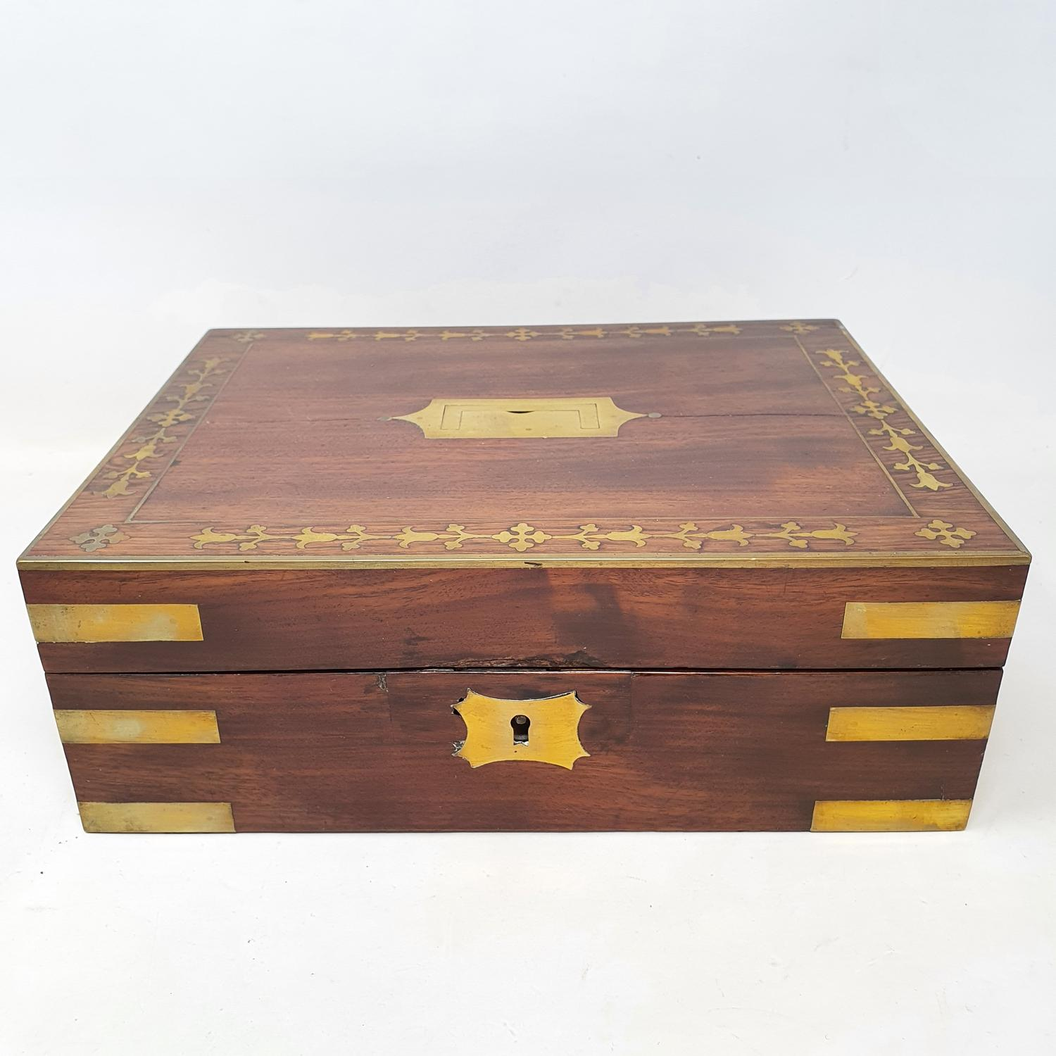 A 19th century mahogany and brass bound jewellery box, with a fitted interior, 30 cm wide - Image 2 of 5