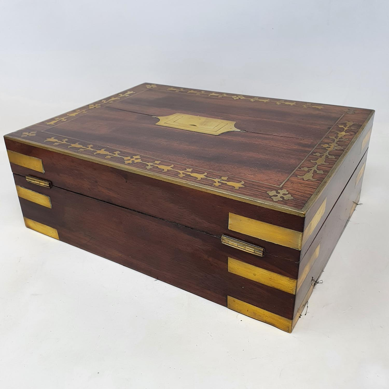 A 19th century mahogany and brass bound jewellery box, with a fitted interior, 30 cm wide - Image 5 of 5