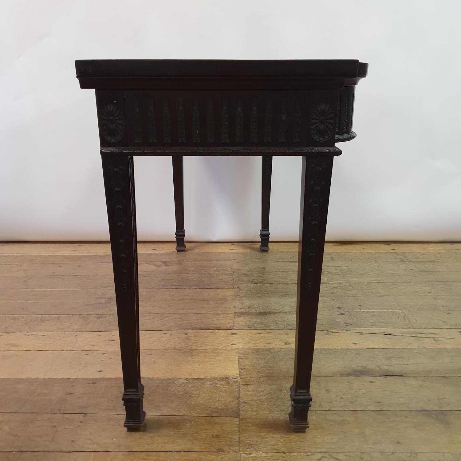 An early 20th century Adams revival mahogany side table, having a frieze drawer with carved rams - Image 4 of 7