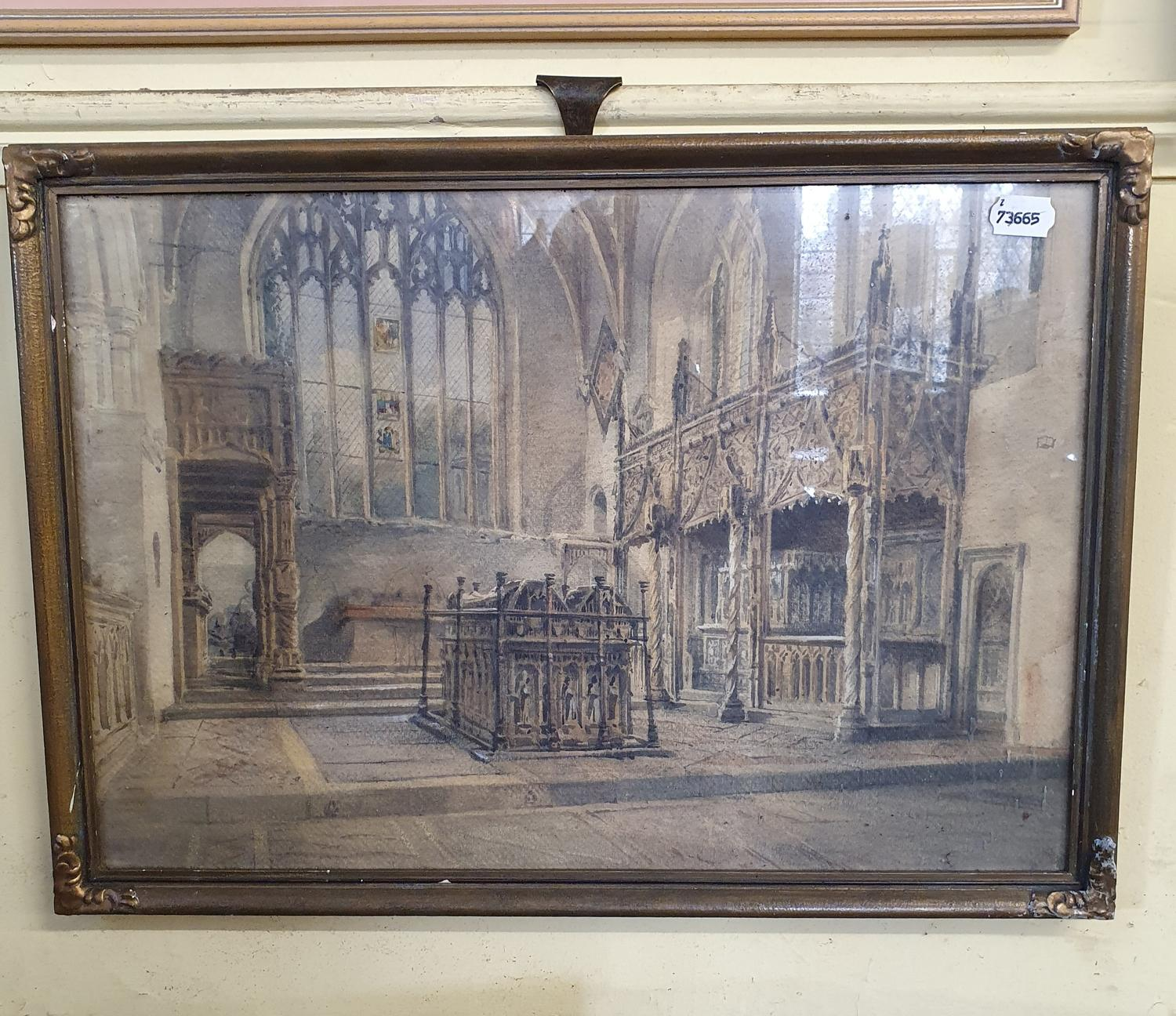English school, 19th century, church interiors, watercolour, a pair, 32 x 47 cm (2) - Image 2 of 2