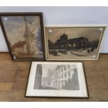 An Albert Godwin print of a church and graveyard, signed in pencil, 38 x 55 cm, another print and