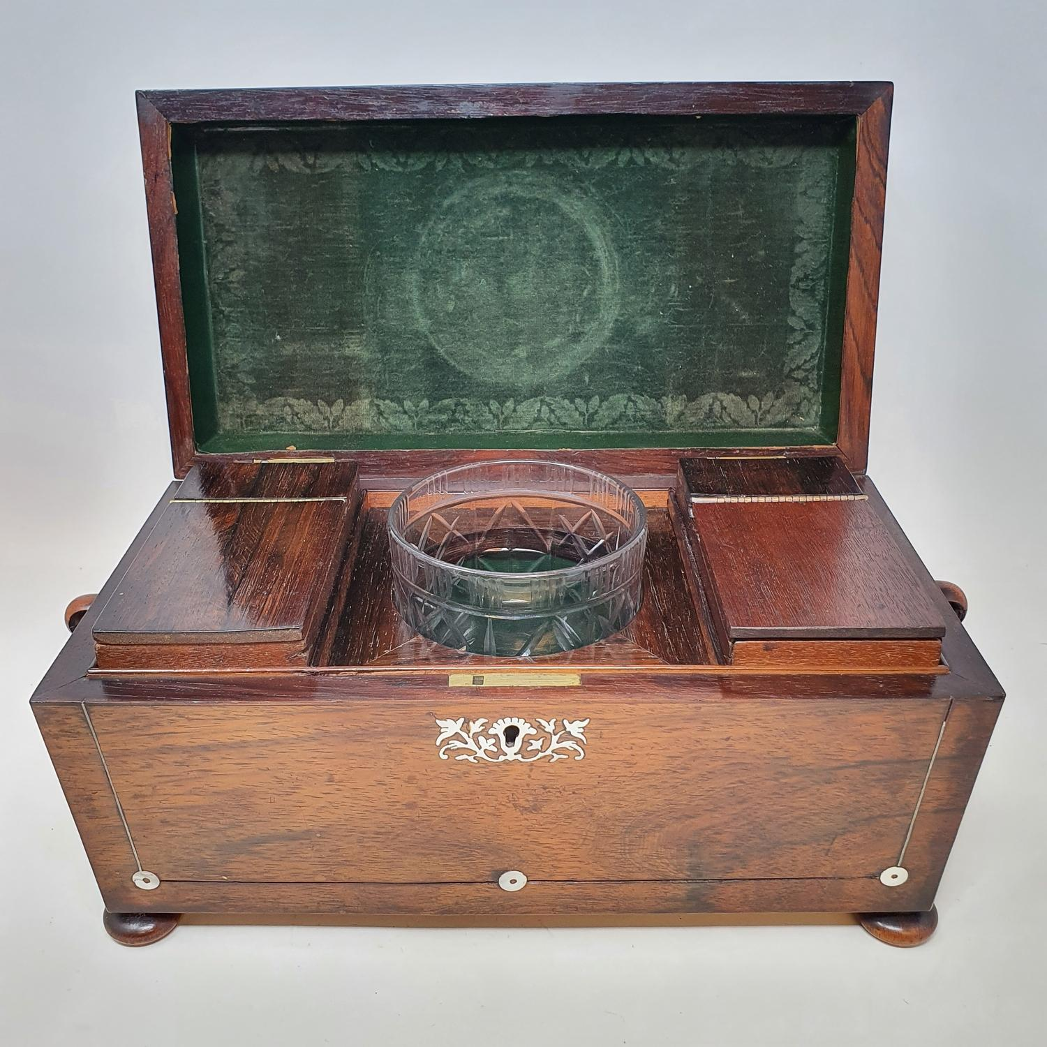 A 19th century rosewood tea caddy, with mother of pearl inlay, 33 cm wide, and an oak desk stand, 23 - Image 3 of 5