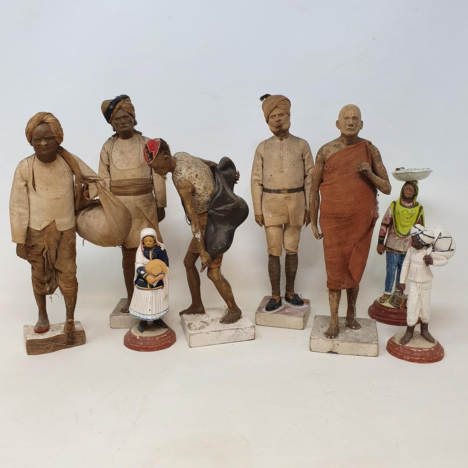 A set of five Indian composition figures, 23 cm high, and other figures (box) - Image 3 of 3