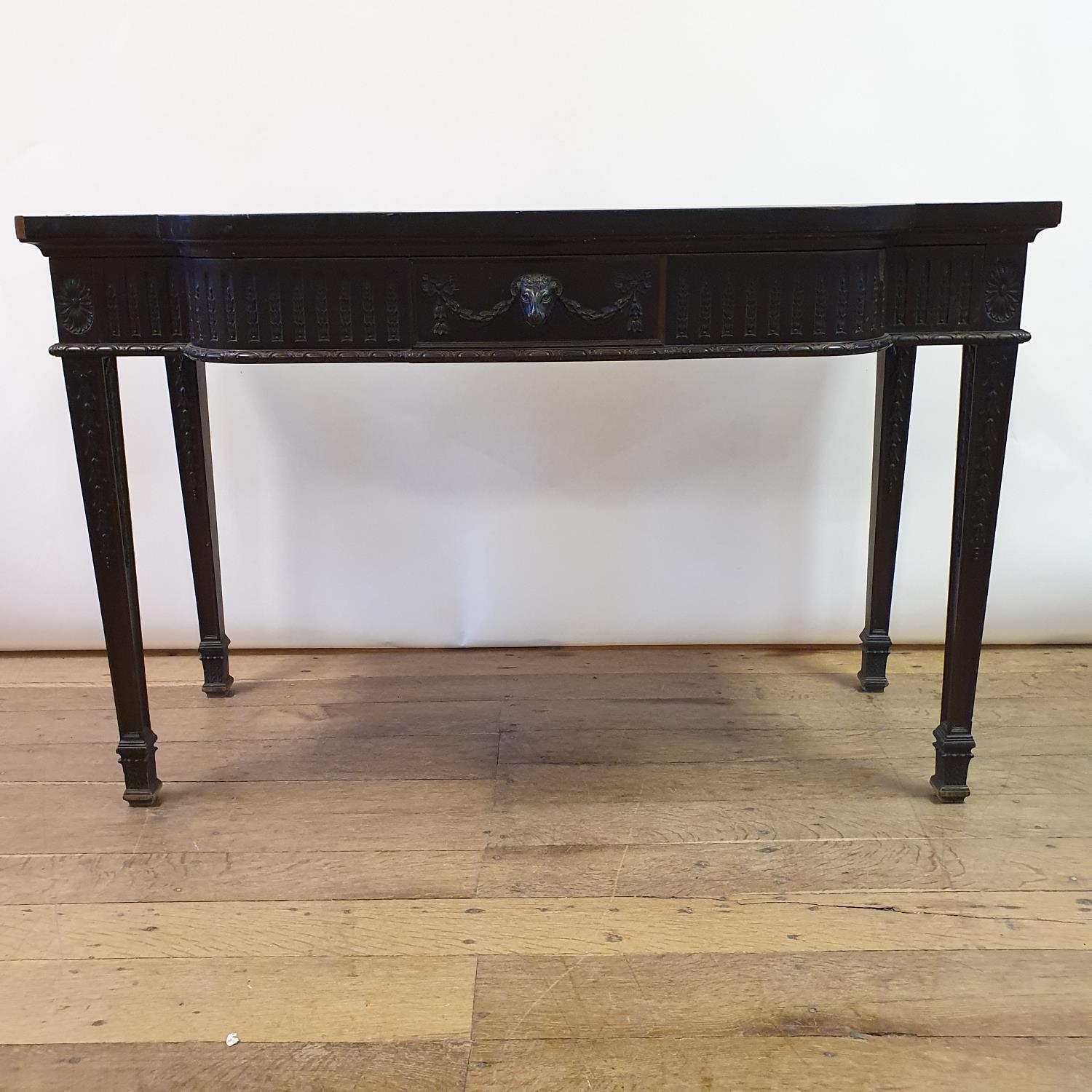 An early 20th century Adams revival mahogany side table, having a frieze drawer with carved rams - Image 7 of 7