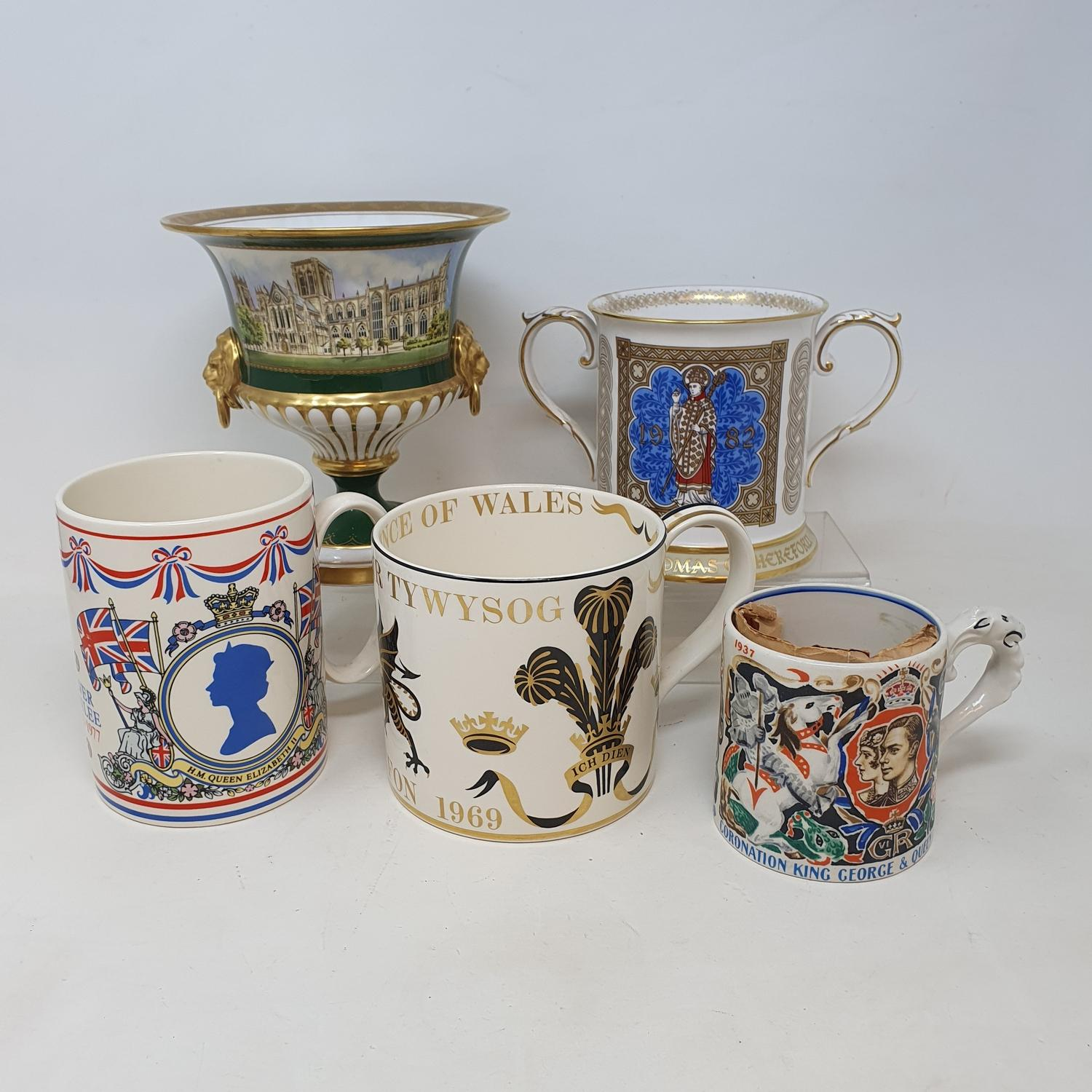 A group of Spode collectors' plates, in presentation boxes, and various other commemorative wares (