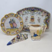 A Quimper plate decorated figures, 24 cm diameter, and other assorted ceramics (2 boxes)