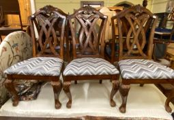 A set of six George III style dining chairs and and three corner cabinets (9)