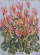 English school, late 20th century, still life of flowers, pastel, signature indistinct, dated '93,