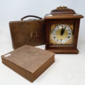 A 20th century mantel clock, an oak box, two coal scuttles, various metalware and other items (qty)
