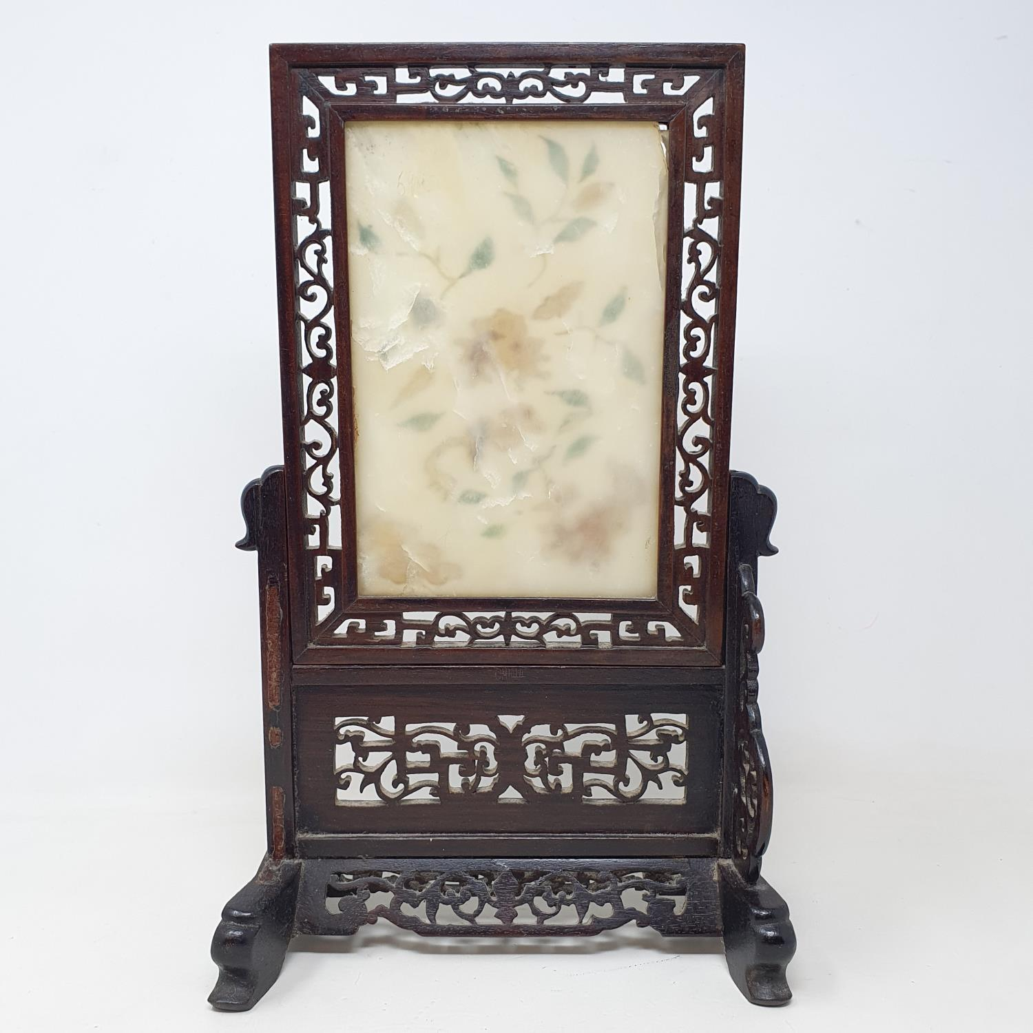 A Chinese table screen, with a pierced hardwood frame, the screen inset with hard stones in floral - Image 2 of 4
