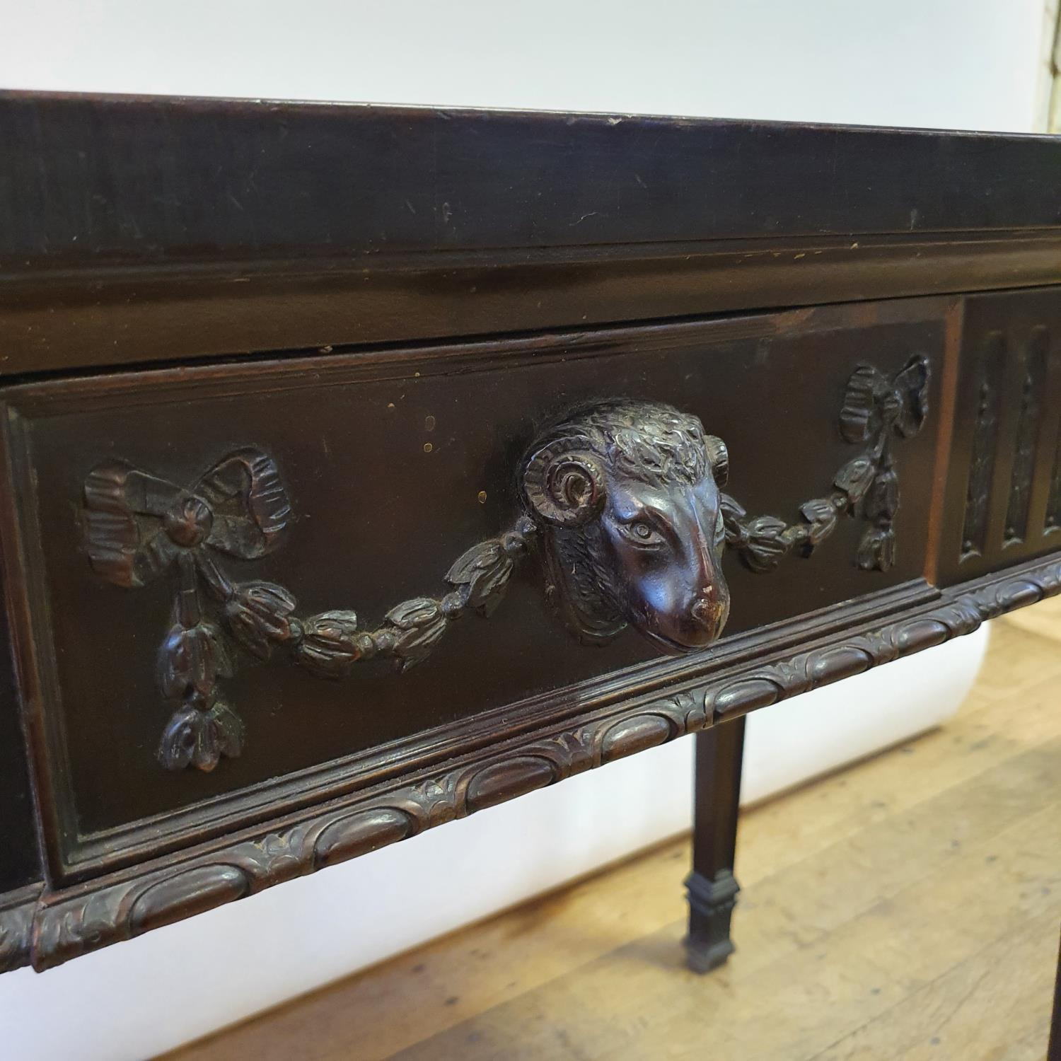 An early 20th century Adams revival mahogany side table, having a frieze drawer with carved rams - Image 6 of 7