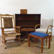 A walnut bookcase, 112 cm wide, a mahogany wine table, a stool, an oak jewellery box, a bureau, an