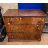 A 19th century mahogany chest, having three drawers, 105 cm wide