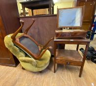 A 19th century dressing mirror, 46 cm wide, a button back armchair, and four other chairs (6)