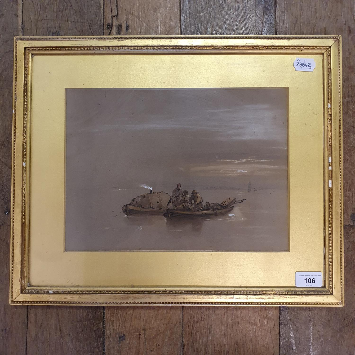 English school, 19th century, smugglers in two boats, watercolour 23 x 32 cm - Image 2 of 2