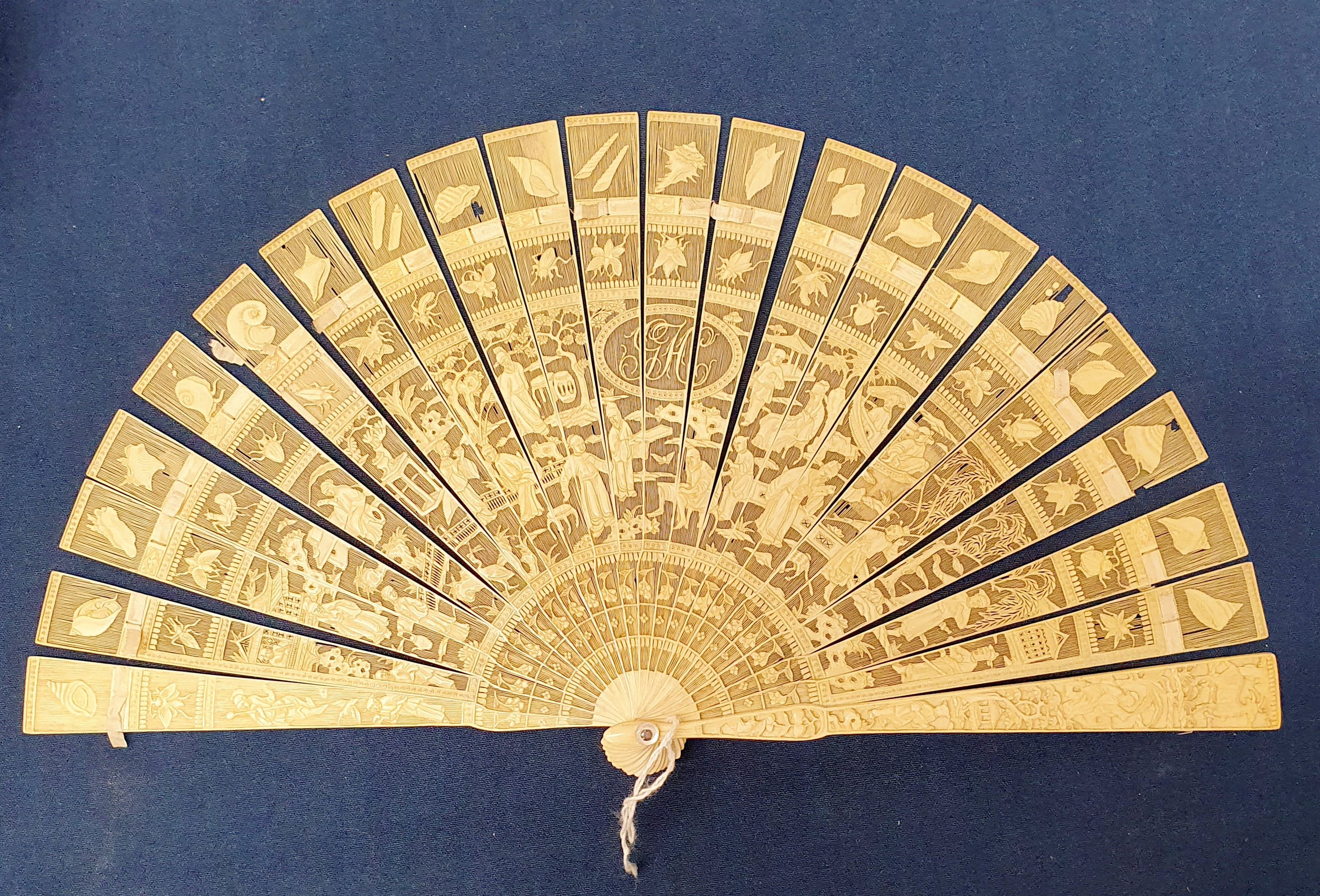 A Chinese ivory brisee fan, two others, and a similar fan with silk embroidered decoration, in a - Image 20 of 47