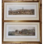 Set of four coaching prints, Spring, Summer, Autumn and Winter, 32 x 76 cm