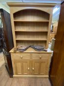 An oak dresser, 110 cm wide, a mahogany corner cabinet, a mahogany bedroom mirror, and two chairs (
