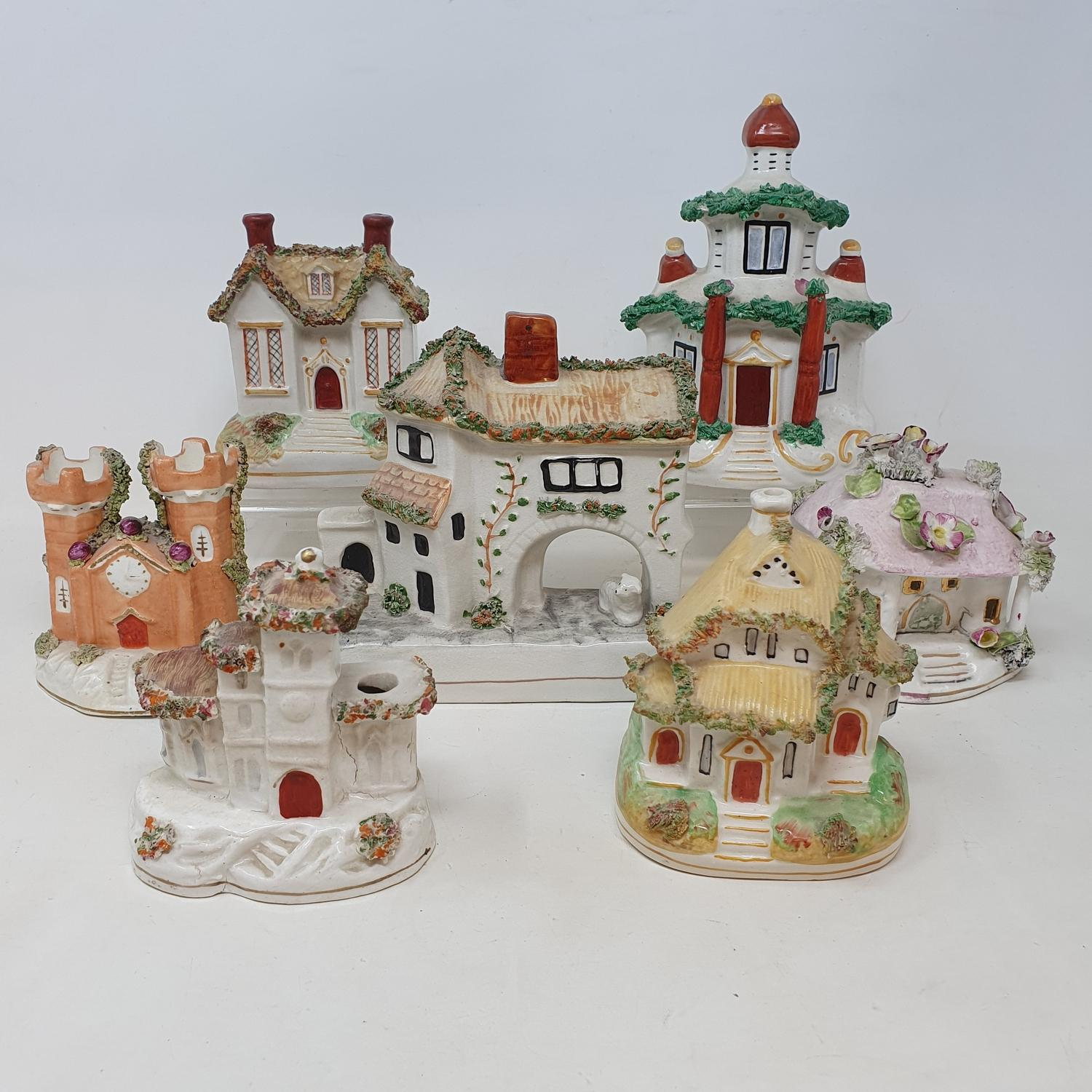 A Victorian Staffordshire cottage pastille burner, 11.5 cm high, and others similar, some occasional